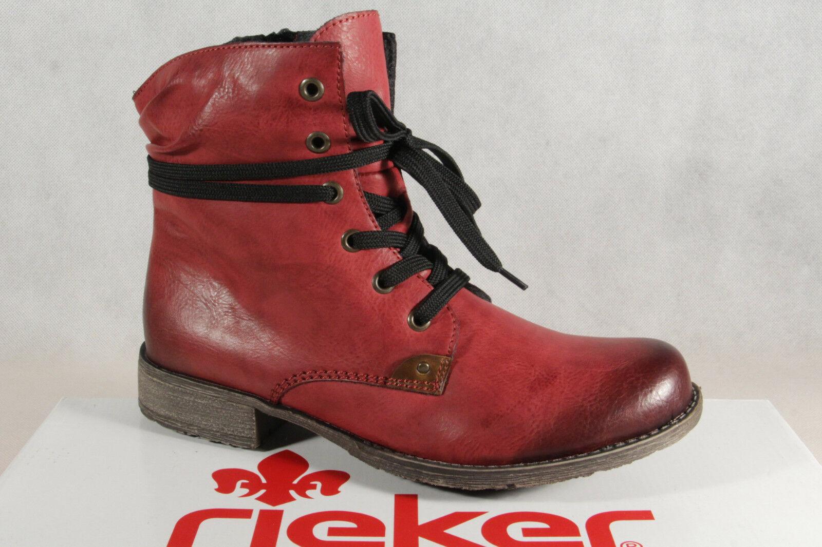 Rieker Damen Stiefel Stiefeletten Schnürstiefel Boots rot 70829 NEU!