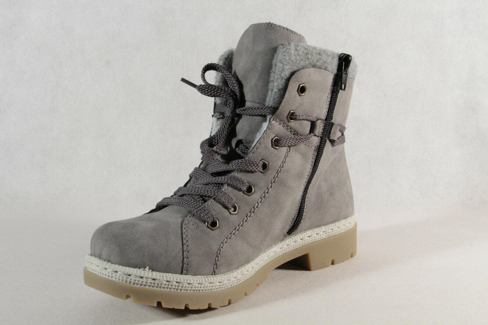 Rieker Damen Stiefel Stiefeletten Schnürstiefel Boots grau dwfoZ