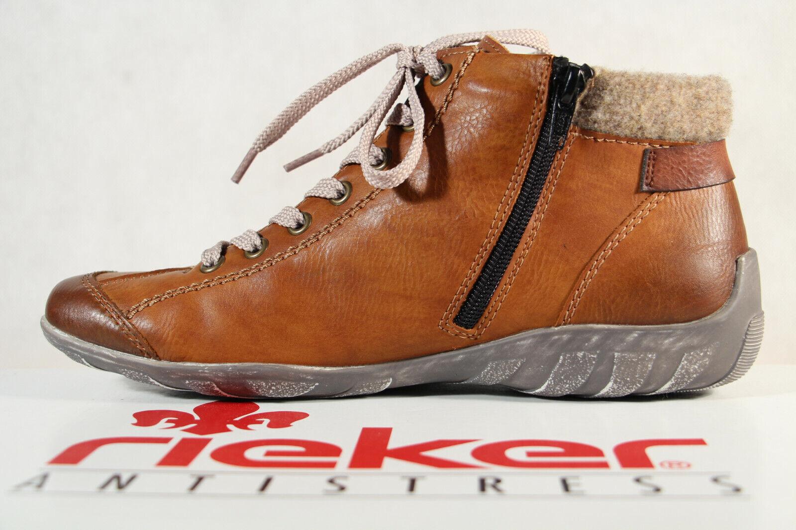 Rieker Damen Stiefel L6527 Stiefelette Schnürstiefel Boots braun NEU!