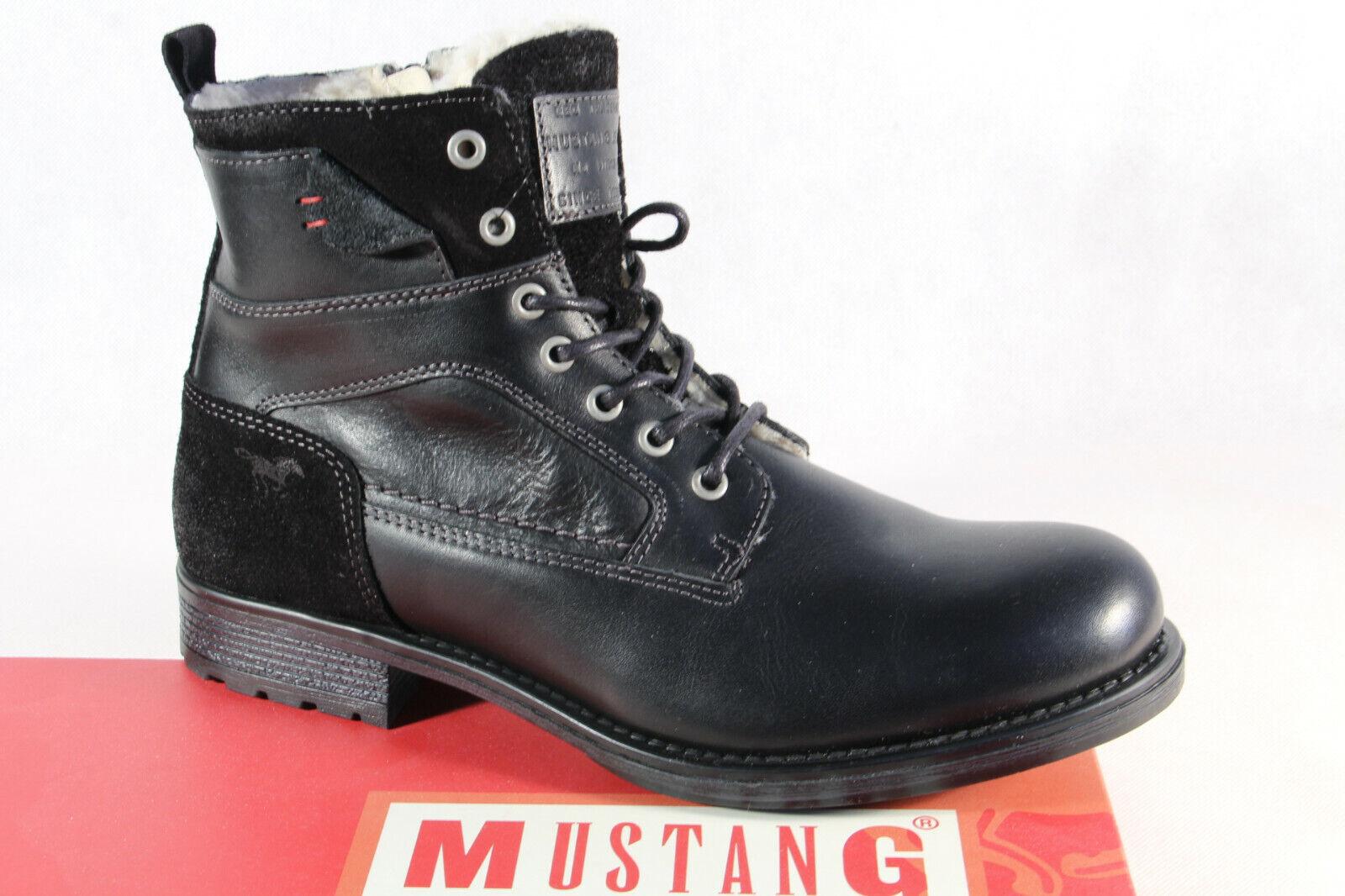 Mustang Stiefel Stiefel Schnürstiefel Winterstiefel Stiefel schwarz Echtleder NEU