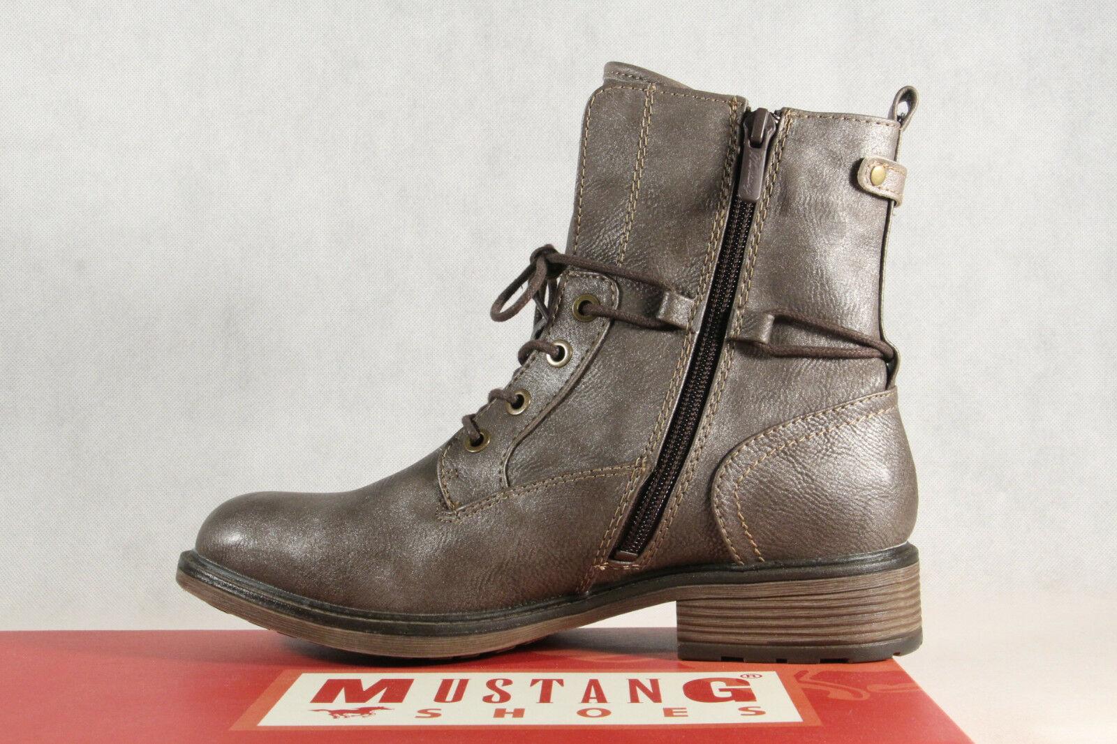 Metallic Mustang Schnürstiefel Stiefel Neu Stiefeletten 1264 Braun Boots WxeCdorB