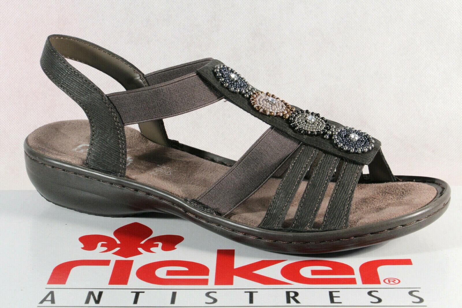 Sandalette Damen 608g9 Rieker Neu Sandale Sandaletten Grau Sandalen eEDHb2IY9W