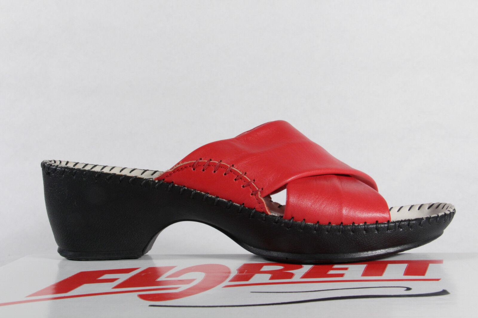 Florett Florett Florett Damen Pantolette Pantoffel rot, Lederfußbett NEU  9086d4