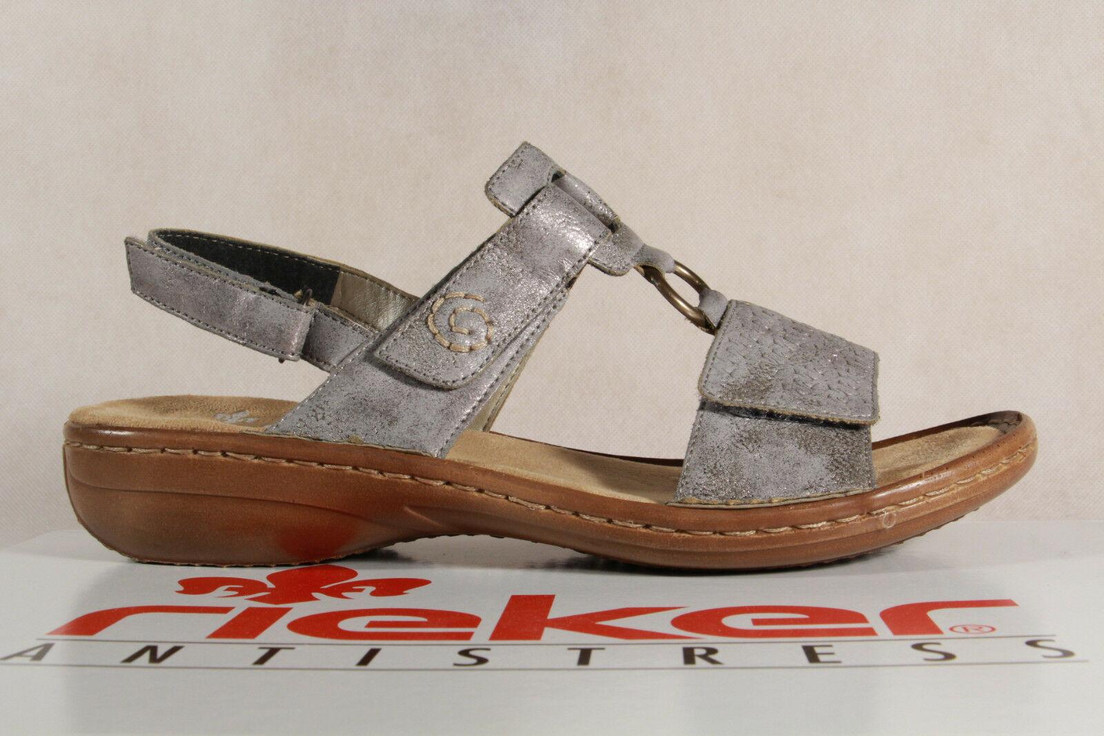 Rieker Damen Sandale Sandalen Sandalette Sandaletten grau Koxxx