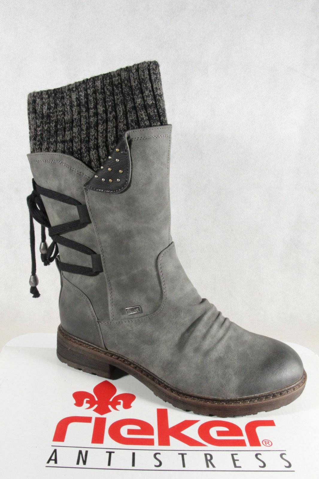 Rieker Tex Damen Stiefel Stiefeletten grau warm gefüttert 8ih6z