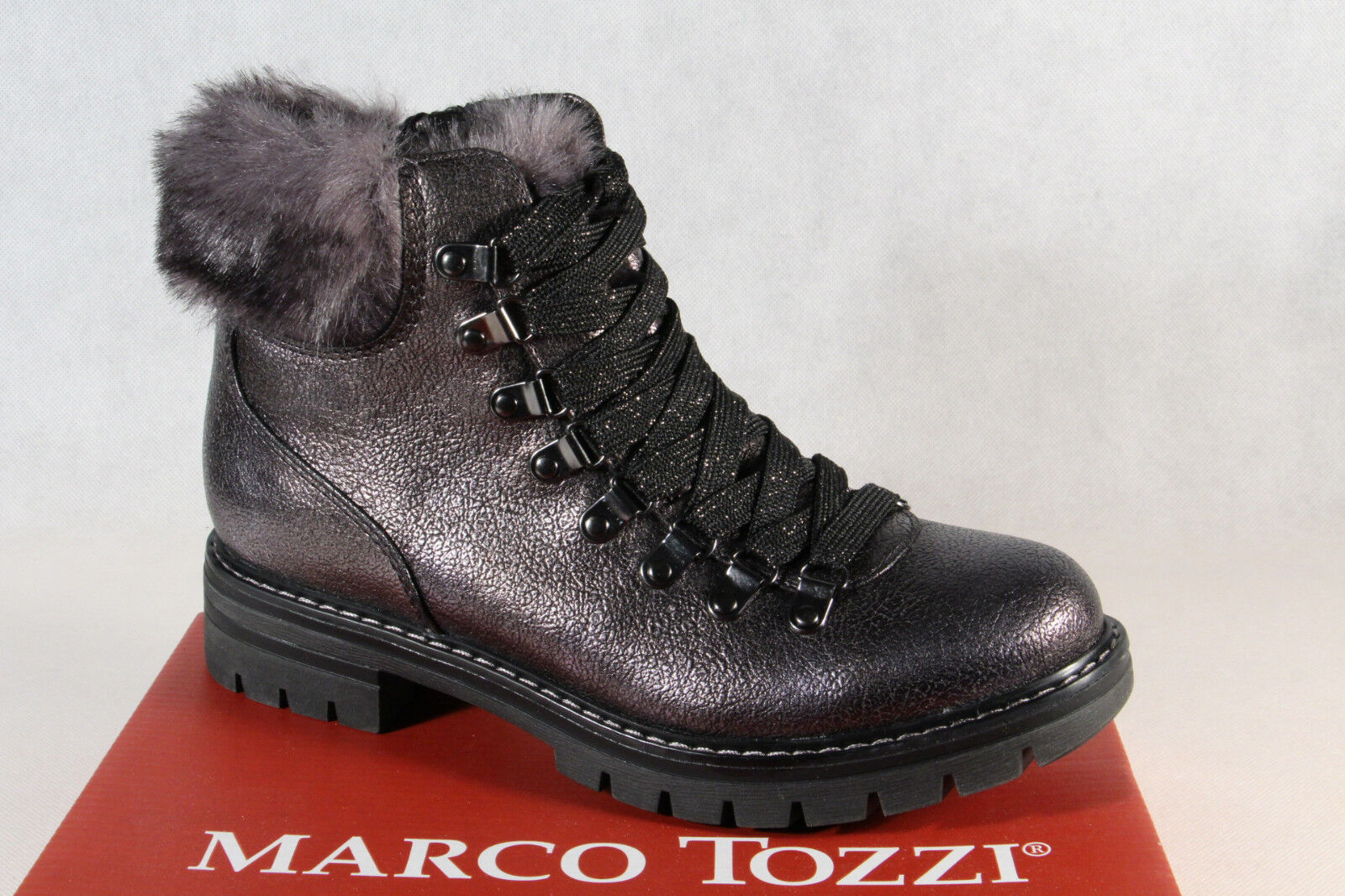 daa2ca72eddcc2 Marco Tozzi 26241 Damen Stiefel Stiefelette Boots Schnürstiefel grau NEU!