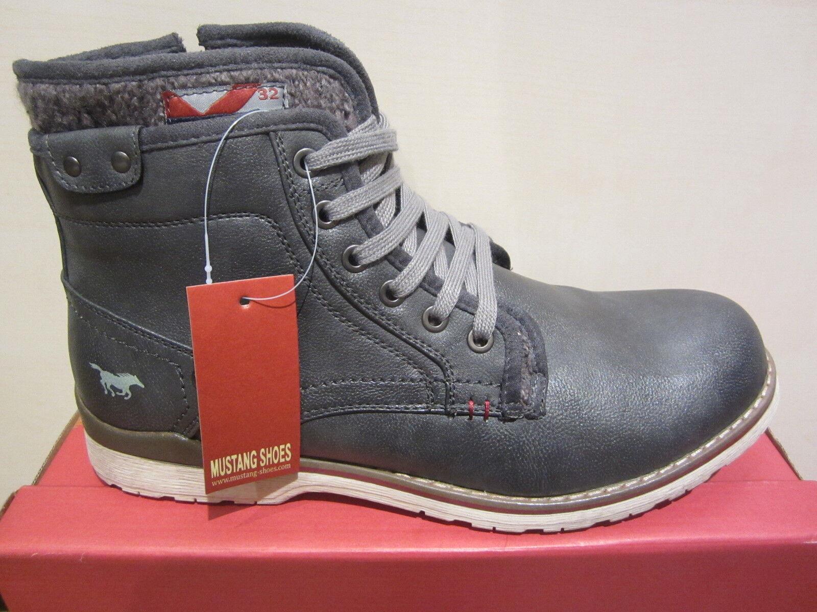 Mustang Stiefel Stiefel Schnürstiefel Winterstiefel mit RV, grau, Karofutter NEU