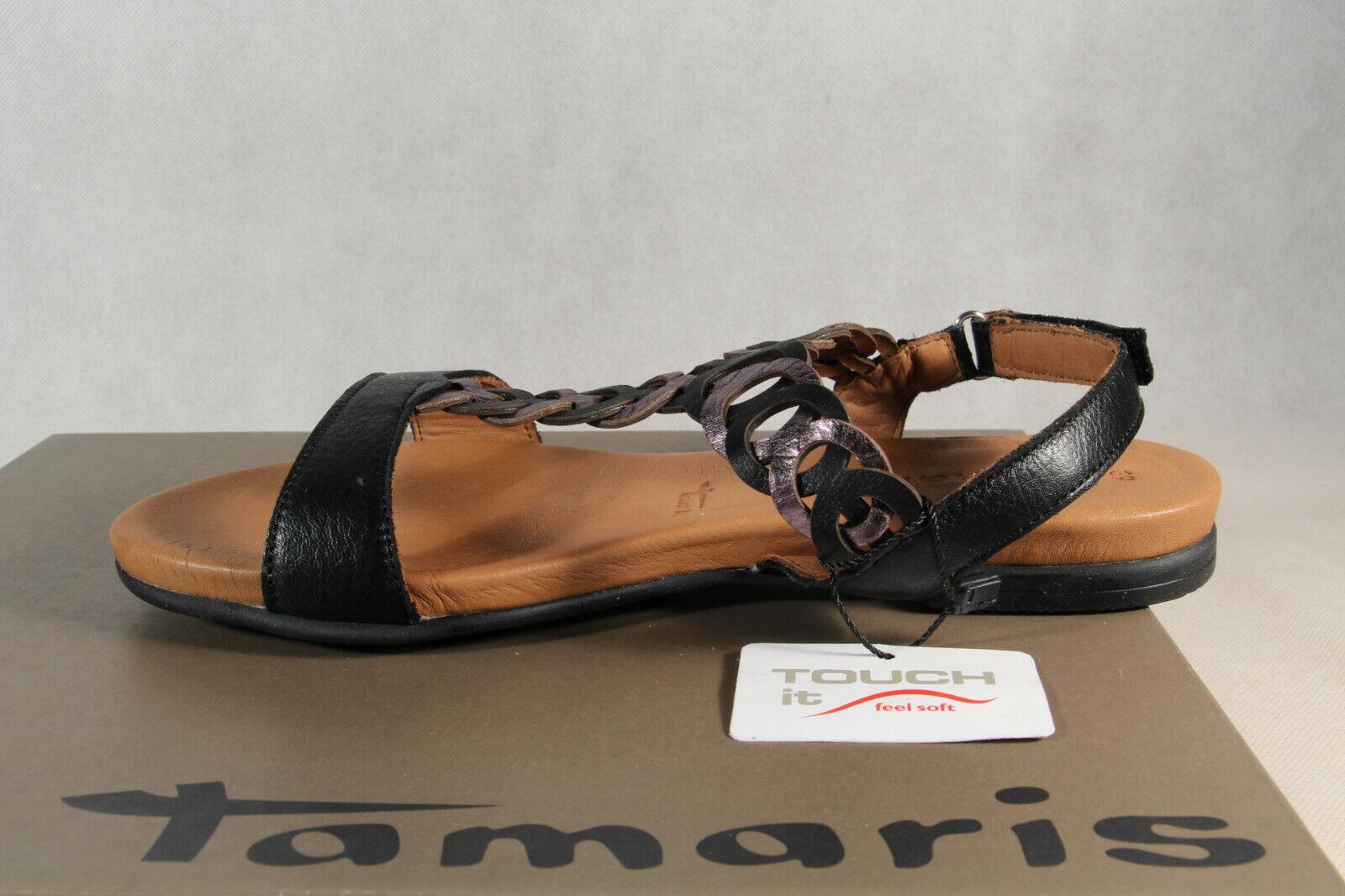 Tamaris Damen Sandale Sandalette schwarz Echtleder 28127 NEU!