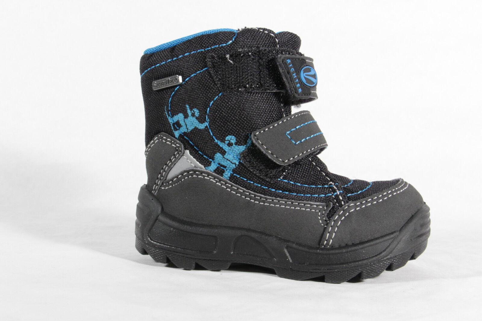Richter LL-Stiefel schwarz    blau, gefüttert, Klettverschluß, SympaTex 2032 Neu   d45205