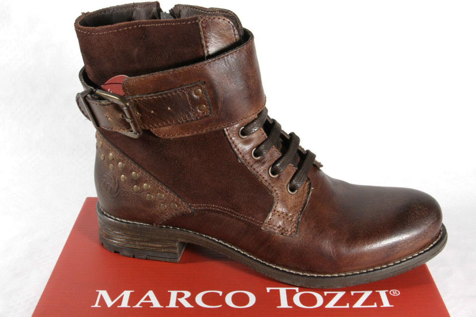 Marco Tozzi Damen Stiefeletten Schnürstiefel, Stiefel, RV, braun 25241 NEU