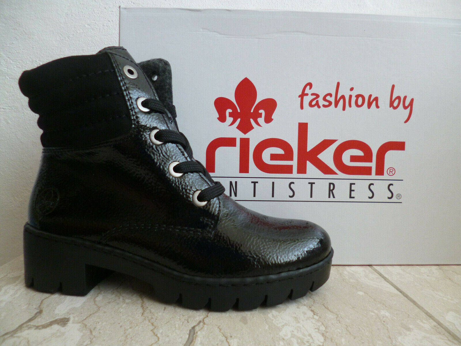 Rieker Damen Schnürstiefel Boots Winterschuhe schwarz Lack X5704 NEU!