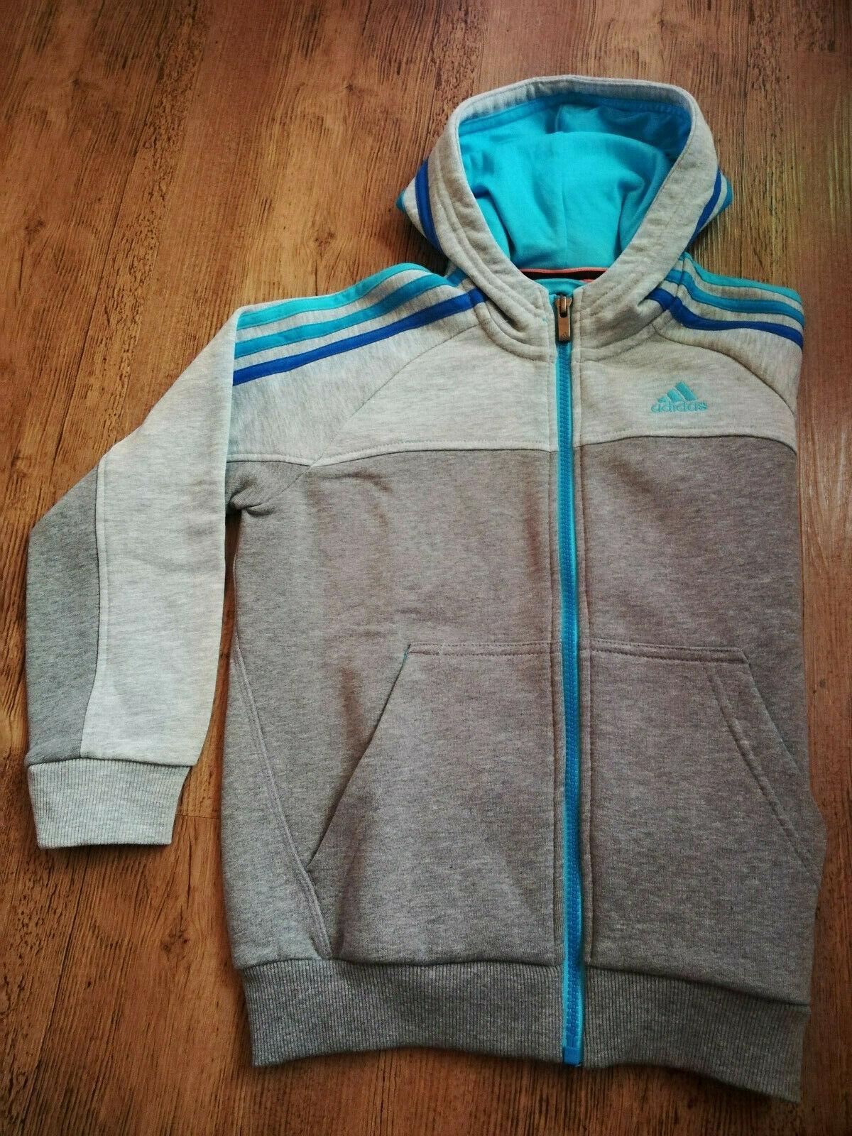 Adidas Sweatjacke Jacke Sport Jungen Mädchen grau blau Trainingsjacke NEU