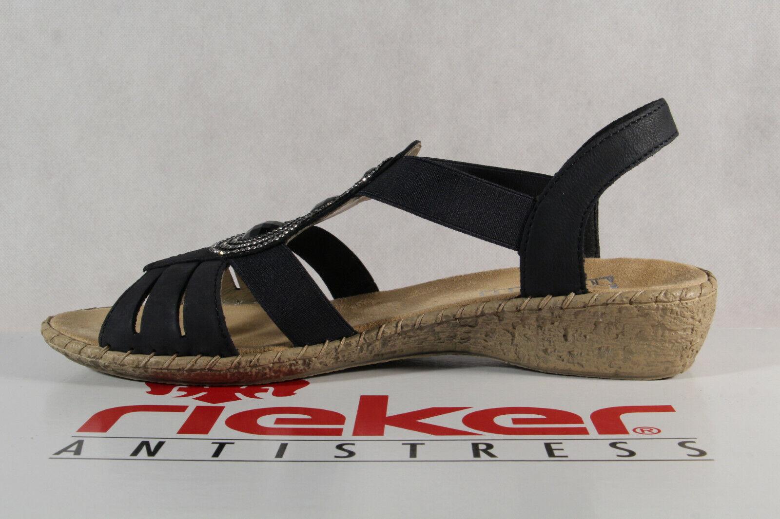 Rieker Damen Sandalen Sandaletten blau Fußbett Echtleder mI1I3