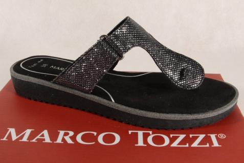 Marco Tozzi NEU! Zehenstegpantoletten Pantoletten grau/ schwarz NEU! Tozzi e3bdc4