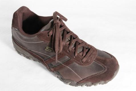 Skechers Herren Echtleder Schnürschuhe Sneakers braun, Wechselfußbett, Echtleder Herren NEU! d736a2
