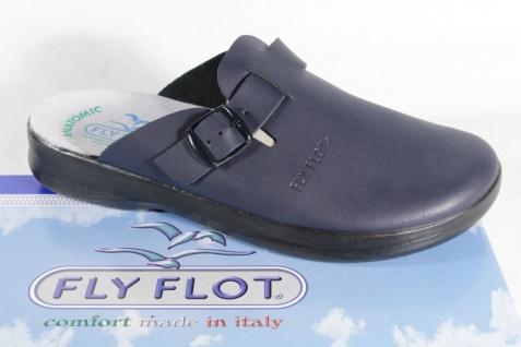 Fly Flot Clogs Sabot Pantoffel Pantoletten blau Echtleder Neu!!!