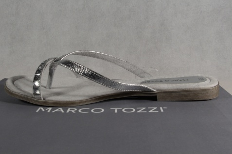 Marco Zehenstegpantoletten Tozzi Zehenstegpantoletten Marco Pantoletten Sandalen silber NEU!! 7d79a0