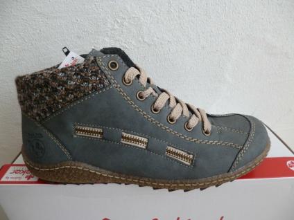 Rieker Damen Schnürschuhe Boots Stiefel blau L7543 NEU!