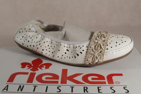 Rieker Ballerina 41466 Slipper weiß weiche Lederinnensohle, Gummisohle NEU