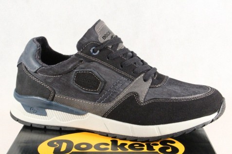 Dockers Herren Schnürschuhe Sneaker Halbschuhe schwarz/ blau 43CD001NEU!