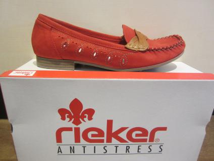 Rieker Slipper Ballerina Leder NEU mit weicher Lederinnensohle, rot NEU Leder 49a0b7