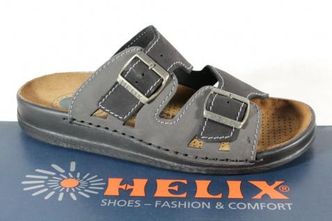 Helix Pantolette Pantoletten Clogs Hauschuhe schwarz / grau Leder NEU!