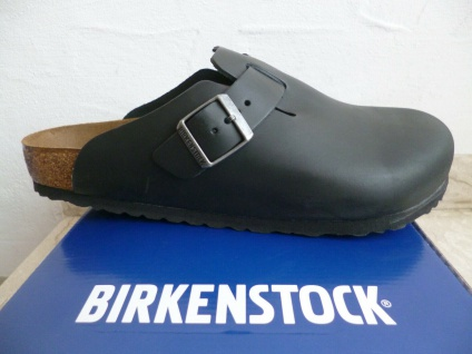 Birkenstock Boston Clogs Pantolette Pantoletten Herren schwarz Echtleder NEU!