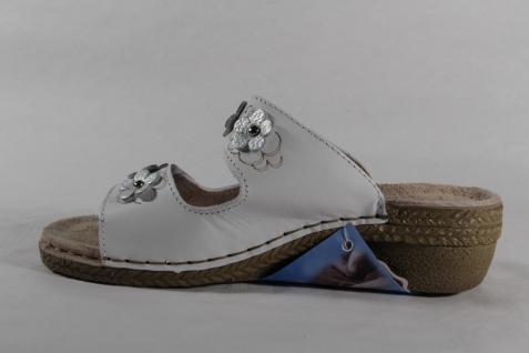 Fly Flot Damen Pantoletten Pantoffel Hausschuhe Leder weiß Klettverschluß Klettverschluß Klettverschluß NEU! Beliebte Schuhe 2407c0