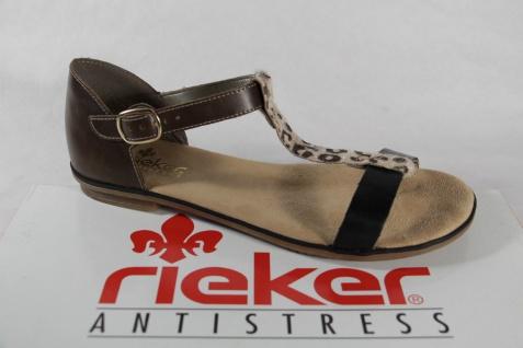 Rieker weiche Damen Sandale braun/ schwarz, weiche Rieker Innensohle, Schnalle NEU!! 65230a