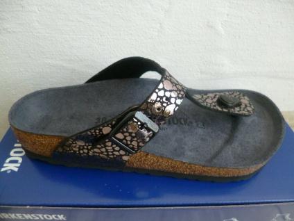 Birkenstock Gizeh Zehentrenner Pantolette Pantoletten metallic black 1008865 NEU