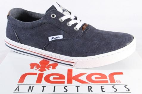 Rieker Herren Schnürschuh, Sneaker, Halbschuh Textil blau NEU