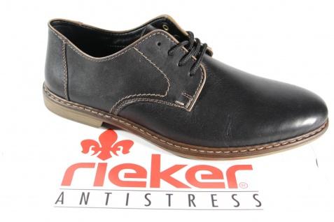 Rieker Herren Schnürschuhe Halbschuhe Sneakers schwarz Leder NEU!