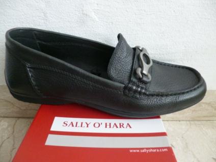 Sally O'Hara Damen Slipper Halbschuh Halbschuhe Ballerinas Leder schwarz NEU!