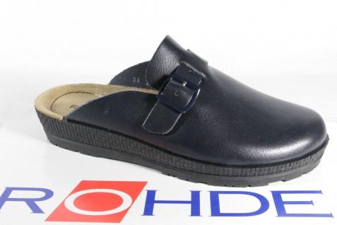 Rohde Beck Damen Clogs Pantoffel Hausschuhe Sabot Leder blau 143856 NEU!!