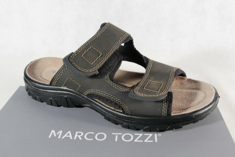 Marco Tozzi Herren Pantoletten Pantolette Clogs Hausschuhe Leder braun NEU!