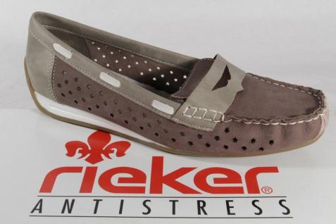 Rieker Slipper 41060 Ballerina Leder, grau/braun, NEU