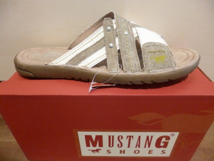 Mustang Mustang Mustang Herren Pantolette beige/weiss NEU!! 3ba28e