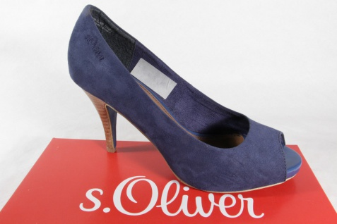 s.Oliver Pumps, blau, Lederdecksohle, sehr hoher Absatz NEU!