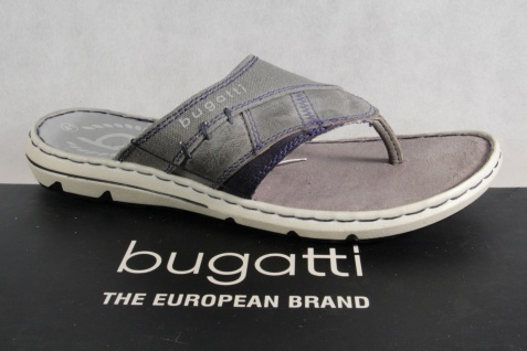 Bugatti Pantoletten Zehentrenner Zehenstegpantolette Pantolette grau Leder NEU!