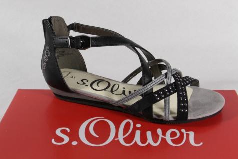 s.Oliver Mädchen Sandale Sandalen Sandalette Sandaletten schwarz / silber NEU!!
