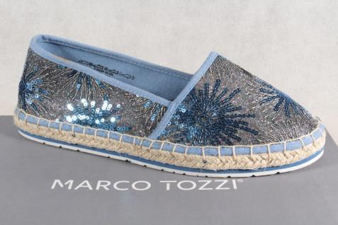 Marco Tozzi Damen Slipper Ballerinas Textil blau NEU!