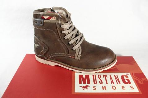 Mustang Jungen Schnürstiefel, 5032 braun mit Reißverschluß, gefüttert 5032 Schnürstiefel, NEU 0eabe7