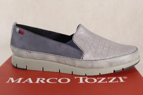 Marco Tozzi Damen Slipper 24600 Ballerinas Echtleder blau silber 24600 Slipper NEU! d02847
