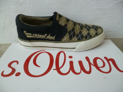 S. Oliver Slipper Sneakers Sportschuhe Halbschuhe Stoff schwarz/beige NEU!