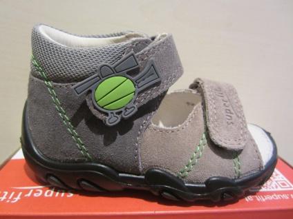 Superfit LL - Sandale Sandalette grau/beige/grün Leder KV Lederfußbett Neu !!!