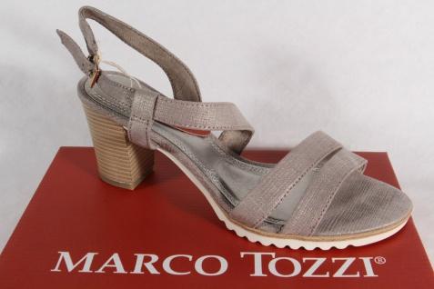 Marco Tozzi Damen Sandale, grau, weiche Lederinnensohle, Blockabsatz NEU!!