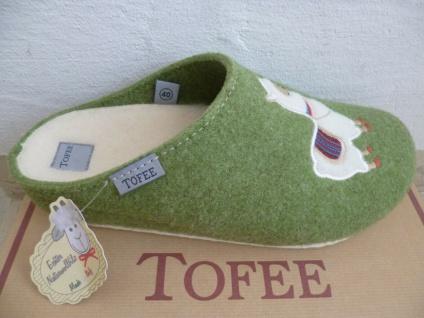 Tofee Damen Pantoffel Pantoffeln Hausschuhe Naturwollfilz grün NEU!!