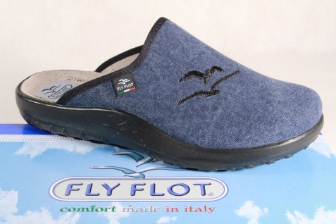 Fly Flot Herren Pantoffel, Hausschuh Clogs Stoff Textil, blau, NEU!!