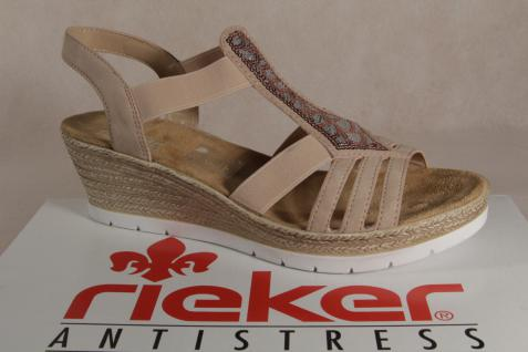 Rieker Damen weiche Sandale, Sandalen Sandaletten rose weiche Damen Innensohle, 61913 NEU!! 86dace