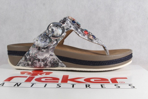 Rieker Damen V1481 Zehenstegpantolette Pantolette Sandale Pantoletten V1481 Damen grau NEU! fc19d3